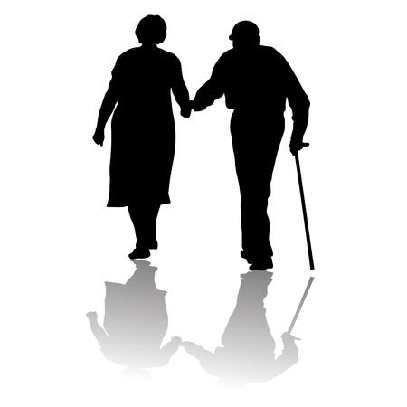 silhouet van een oud echtpaar die voor handen Stock Illustratie