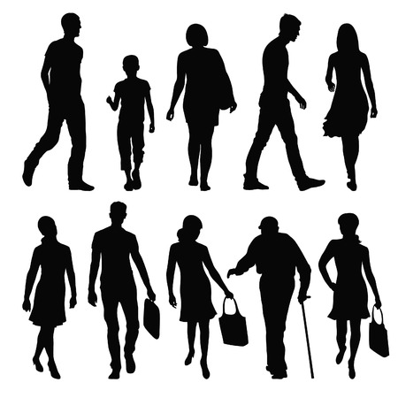 silhouettes of people in different poses Vector