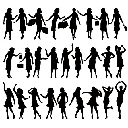 sexy woman silhouette: silhouettes of women in various poses