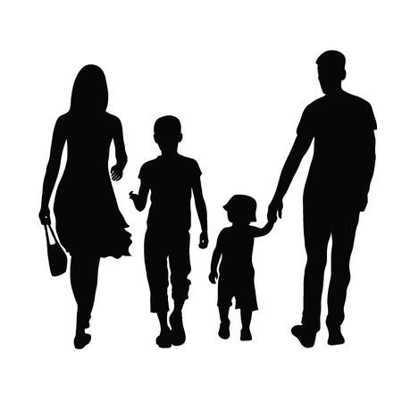 person walking: Silhouette of parents and children  Illustration