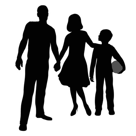 mammy: silhouette of a family of three Illustration