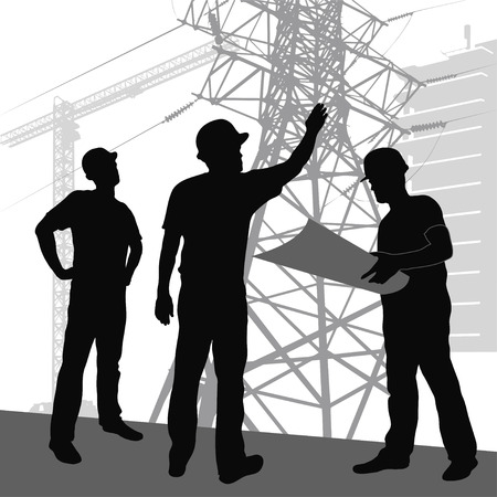 insulators: silhouette  workers on  background of construction  Illustration