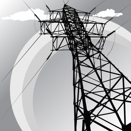 Vector silhouette of high voltage power lines and pylon Çizim