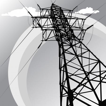 Vector silhouette of high voltage power lines and pylon Illusztráció