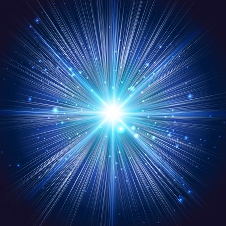 抽象的な背景が青色の星の爆発