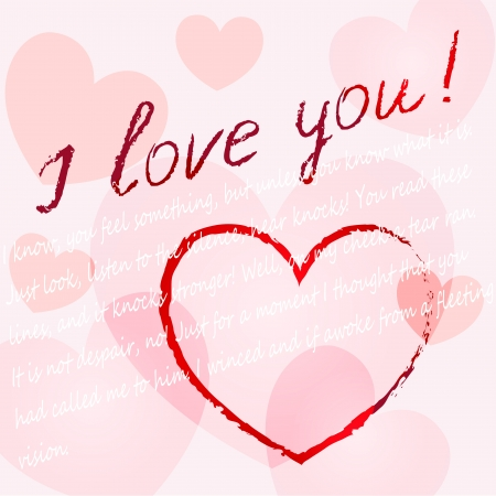 background Valentines day with heart and words I love you Illustration