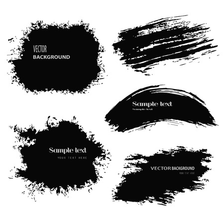 Set of grunge vector and ink brushes. Abstract black design elements. Vector