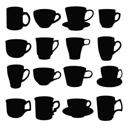 chai:  Cups, black silhouettes of kitchen utensils. Vector illustration