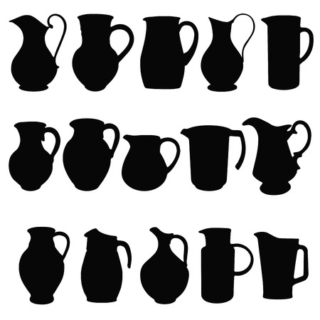 Jugs,  black silhouettes of kitchen utensils. Vector illustration Vector