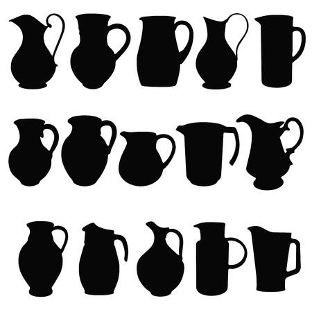 pitcher's:  Jugs,  black silhouettes of kitchen utensils. Vector illustration