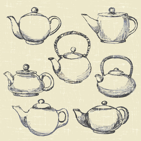 set antique teapots,  hand drawn sketches  Vector