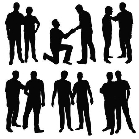 gay: Satz von schwarzen Silhouetten gl�cklich Homosexuell Paare Illustration