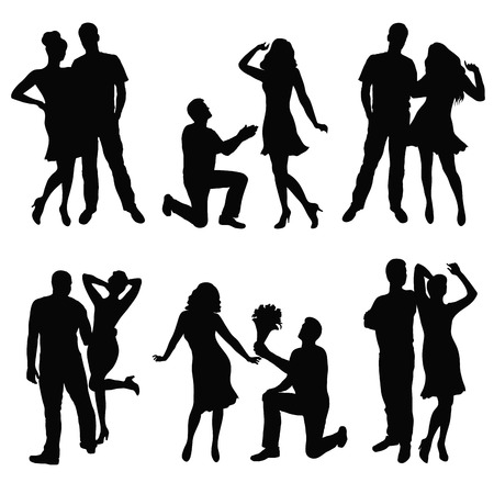 Black silhouette of lovers couple  Vector illustration