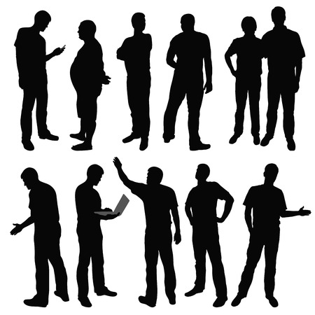 Black silhouettes of men in different poses  Vector illustration Çizim