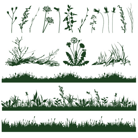 undergrowth: silhouettes of decorative elements of grass and twigs