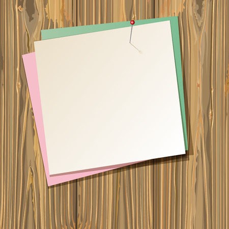 paper sheets: background with paper sheets on old wooden planks. vector illustration