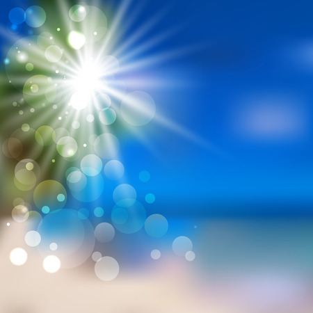 background with blurred ocean landscape and sun rays. vector illustration Vector