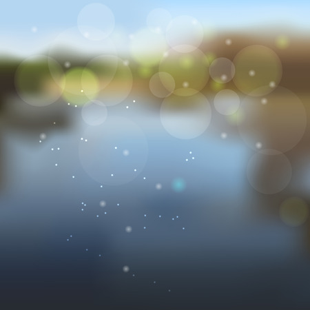 background of unfocused lake shore with sunlight effects Illustration