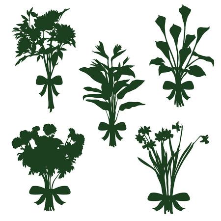 bouquet fleur: silhouettes des bouquets de fleurs Illustration
