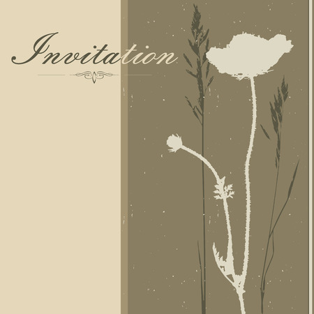 grasses: Invitation background with silhouettes of various grasses and branches