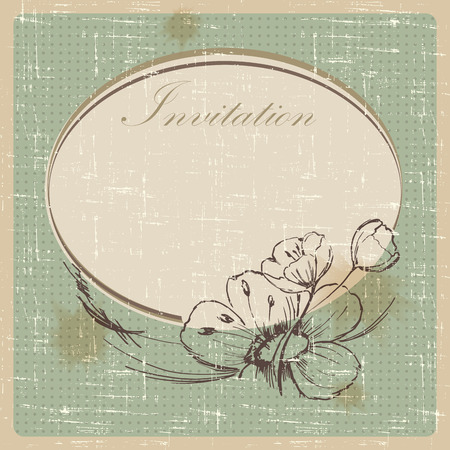 attrition: Invitation cards in an old style. Illustration