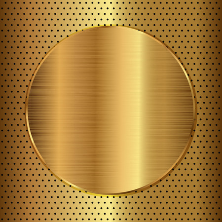 Golden button on perforated gold background. Vector illustration Vector