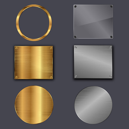 Set of metal plates on grey background. Vector illustration Vector