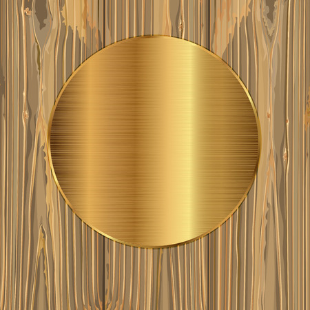 gold circle: Gold circle on a wood background. Vector illustration Illustration