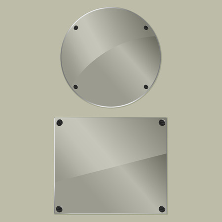 bolted: Two bolted glass plates on a gray background. Vector illustration Illustration