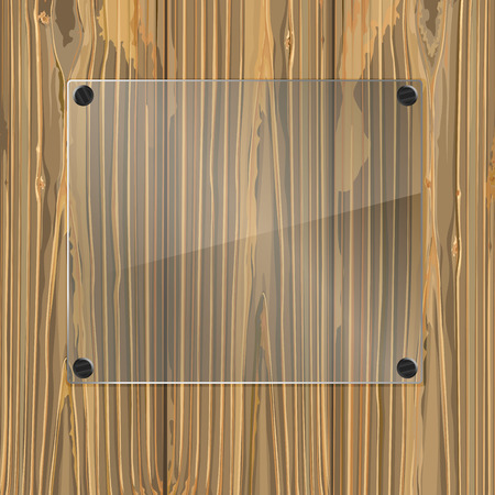 bolted: Bolted glass plate on a wood background. Vector illustration Illustration