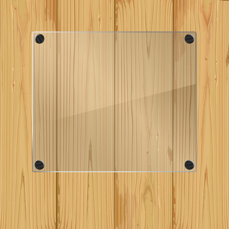 Bolted glass plate on a wood background. Vector illustration Vector