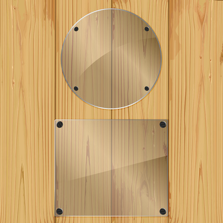 Two bolted glass plates on a wood background. Vector illustration Vector