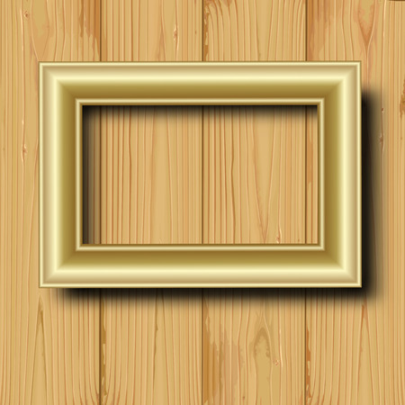 Yellow metal frame on a wood background. Vector illustration Vector