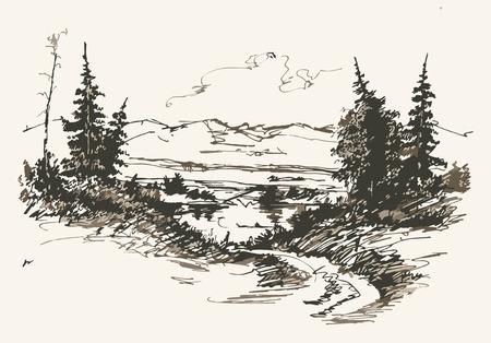 riverside landscape: Black and white hand drawn landscape. Vector illustration Illustration