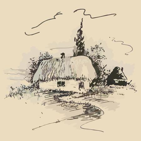 sketch of the old traditional Ukrainian hut. vector illustration Vector