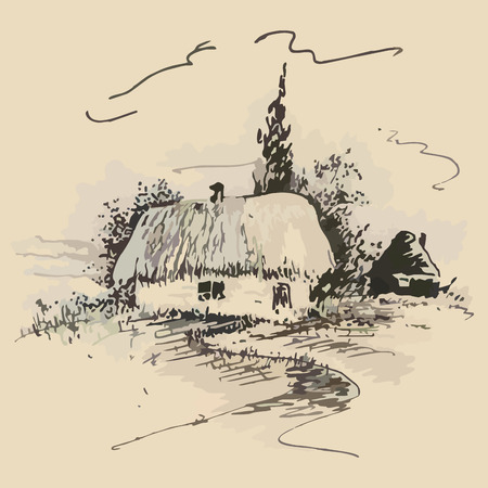sketch of the old traditional Ukrainian hut. vector illustration