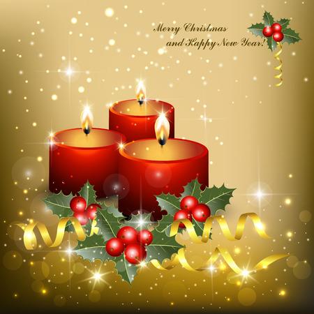 velas de navidad: velas rojas brillantes en el fondo adornado con estrellas, chispas, el acebo y de las cintas. ilustración vectorial