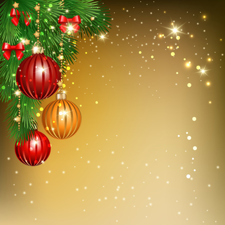 Christmas background with  branches of  spruce and decorative elements