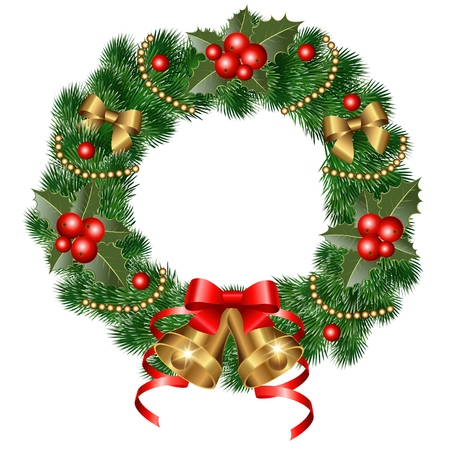 Christmas wreath with bells, holly and christmas tree. Vector illustration Illustration