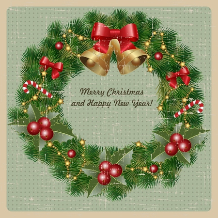 Christmas wreath with bells, holly and christmas tree on vintage background. Vector image Vector