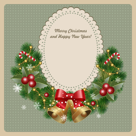 Christmas wreath with bells, holly and christmas tree on vintage background. Vector image Çizim