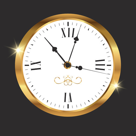 Golden watch on dark background. Vector illustration Vector