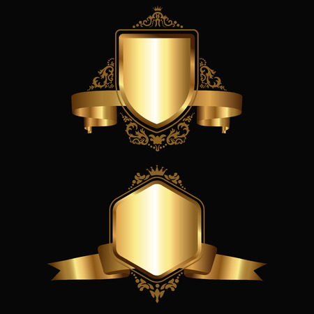 Gold emblems with ribbons and ornaments. Vector illustration