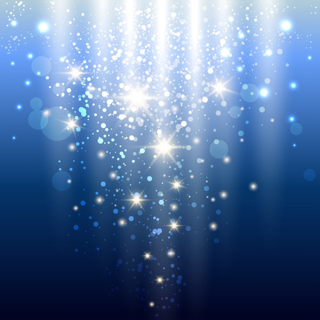 blue background with glowing sparkles and glitter. vector illustration Illustration