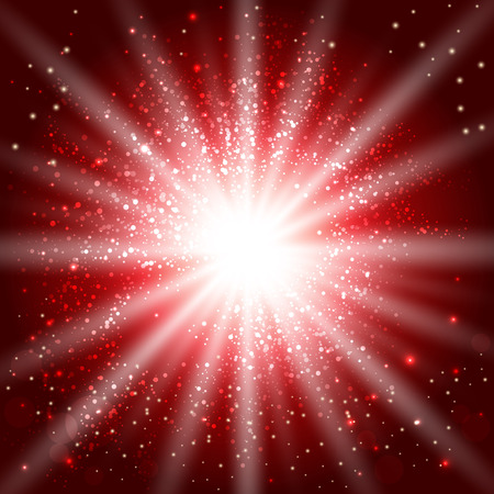 red background with glowing sparkles and glitter. vector illustration 矢量图像