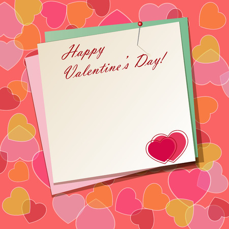 ration: Paper background with hearts for Valentines Day. Vector illustration