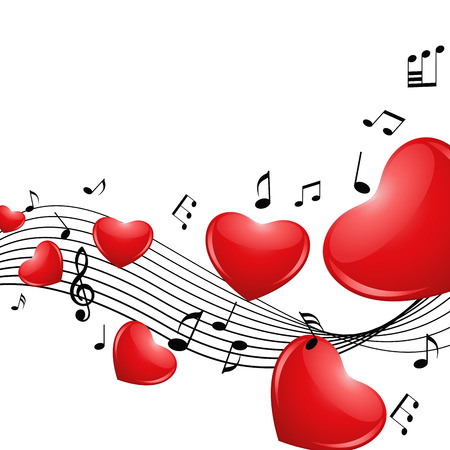Romantic background with hearts and notes. Vector illustration Çizim