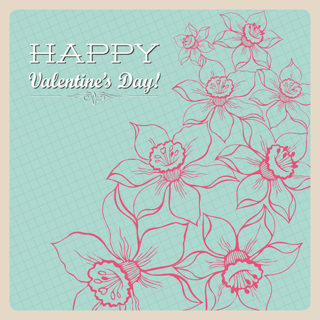 celadon: Retro celadon background with flowers for Valentines Day illustration