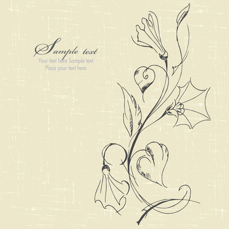 bindweed: hand drawn floral background with bindweed. vector illustration