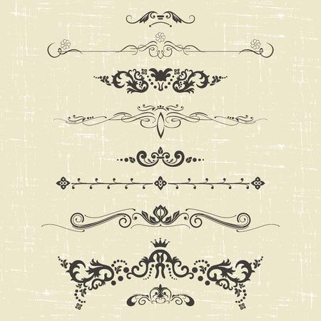 lineas decorativas: conjunto de elementos de diseño y decoración ornamental de la vendimia. ilustración vectorial